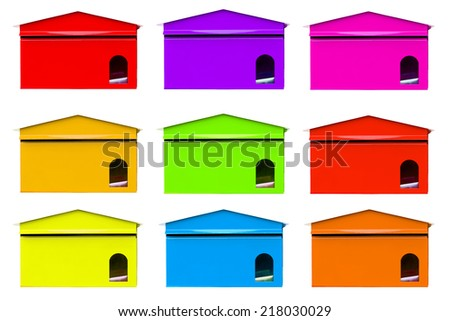 color full mailbox on white background - stock photo