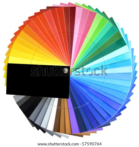 Color full spectrum palette sample isolated with clipping path - stock photo
