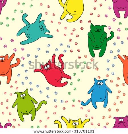 Color funny cats with traces of paws on seamless pattern