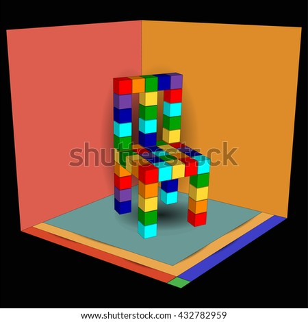 Color furniture 3d. Chair made of color cubes. Abstract chair in rainbow colors. Furniture logo.  - stock photo