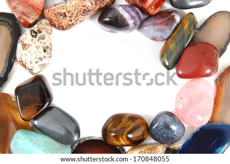 color gems isolated on the white background - stock photo
