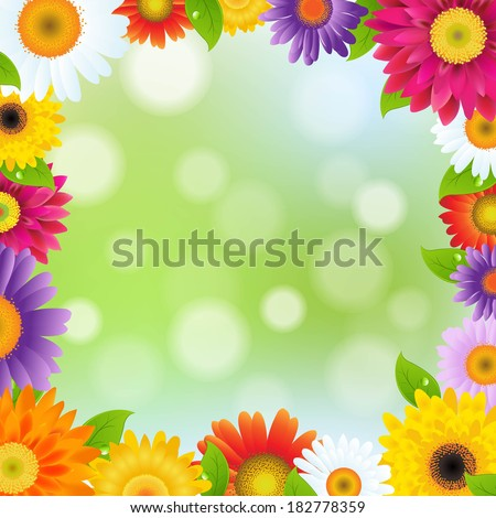 Color Gerbers Flower Frame - stock photo