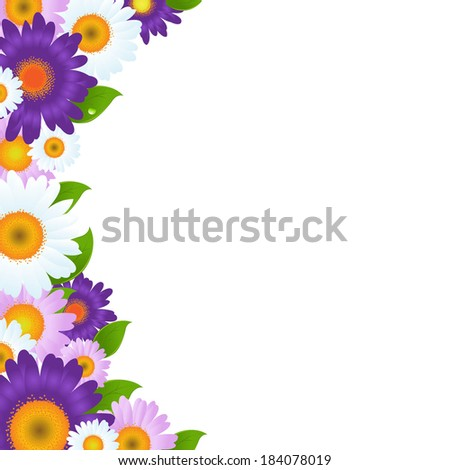 Color Gerbers Flowers Frame With Green Leaf - stock photo