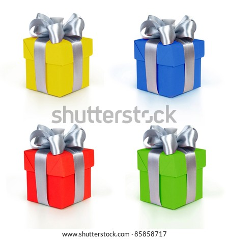 color gift boxes collection - stock photo