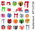 color gift boxes collection with ribbons and bow isolated on white - stock photo