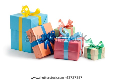 color gift boxes on white background - stock photo