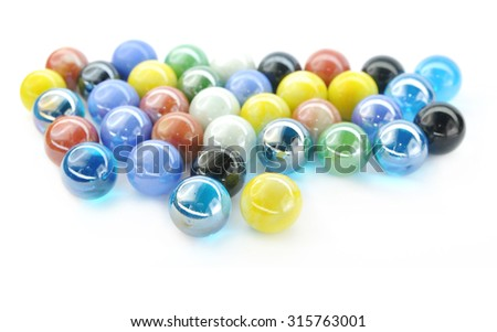 Color glass balll on white background