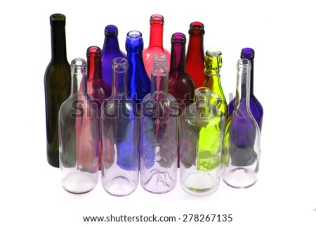 color glass bottles isolated on the white background - stock photo