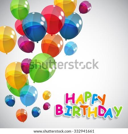 Color Glossy Balloons Happy Birthday Background Illustration  - stock photo