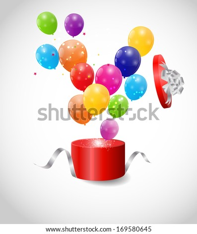 Color Glossy Balloons in Gift Box Background  Illustration
