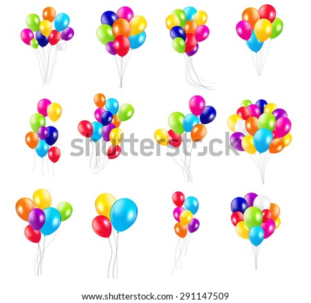 Color Glossy Balloons  Mega Set  Illustration  - stock photo
