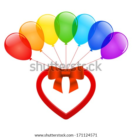 Color glossy balloons with heart and bow ribbon. Raster version. - stock photo