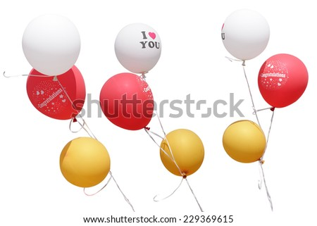 Color glossy set balloons isolated on white background. This has clipping path