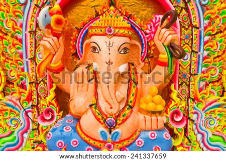 color God Ganesha Or God Of Success in Thailand. - stock photo