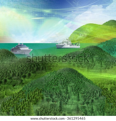 color graphically painted landscape