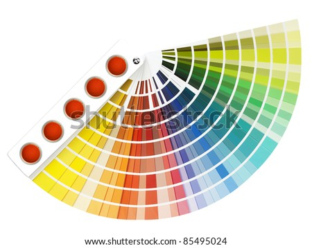 color guide, color swatch book on white background - stock photo