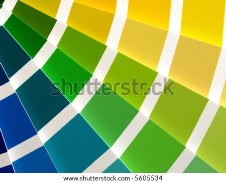 Color guide for selection with blue, green and yellow tones - stock photo