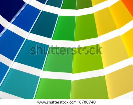 Color guide for selection with orange, yellow, green and blue tones - stock photo