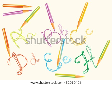 color  hand drawing letters for your design, abcdf