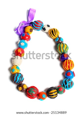 color hand made beads isolated over white