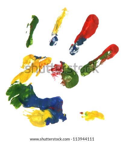 Color hand print, isolated on white - stock photo