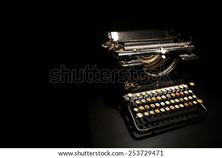 Color horizontal detail of an old typewriter. - stock photo