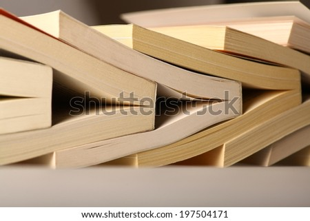 Color horizontal shot of some used books. - stock photo