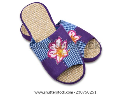 "Color house slippers. Good for use as a ""Home Sweet Home"" metaphor. Image is isolated on white with light shadow and the file includes a clipping path.  - stock photo"