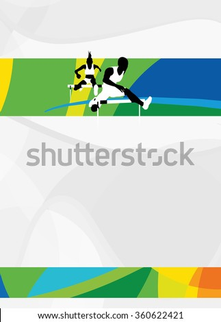 Color hurdles running sport flyer or poster background with empty space. The character is a 3D rendered model, no real person. - stock photo