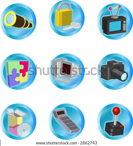 color icon set or design elements relating to web and computing. Raster version - stock photo