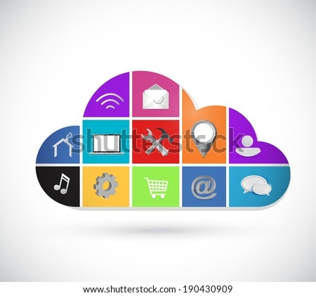 color icons cloud computing illustration design over a white background - stock photo