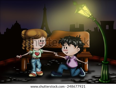 color illustration of a romantic background - stock photo