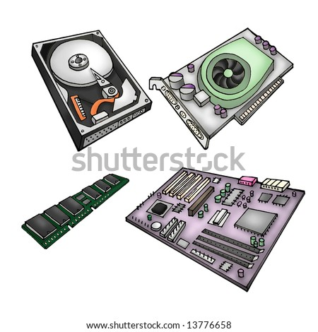 Color illustration of computer parts - harddrive, graphics card, memory module, motherboard. - stock photo