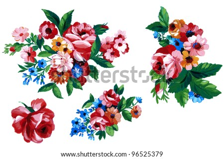 Color illustration of flowers in watercolor paintings - stock photo