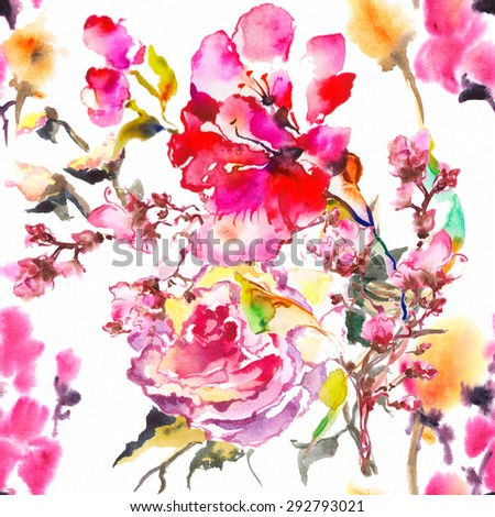 """Color illustration of flowers in watercolor paintings.(Album """"New Seamless Compositions from Water Colour Flowers"""") - stock photo"""