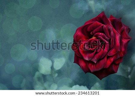Color illustration of flowers, Red Roses, oil painting effect