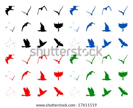 Color illustration of the isolated silhouettes of birds - stock photo