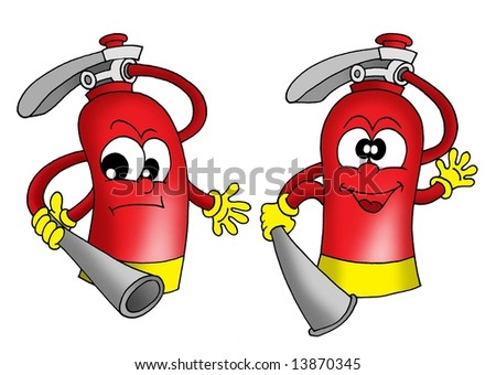 Color illustration of two extinguishers. - stock photo