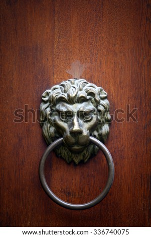 Color image of a very old lion door knocker.