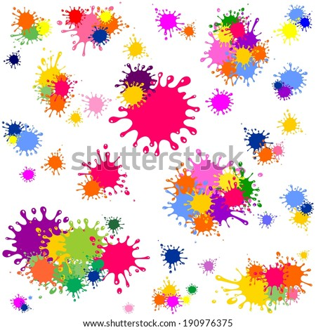 Color ink blots seamless background.  Illustration  - stock photo