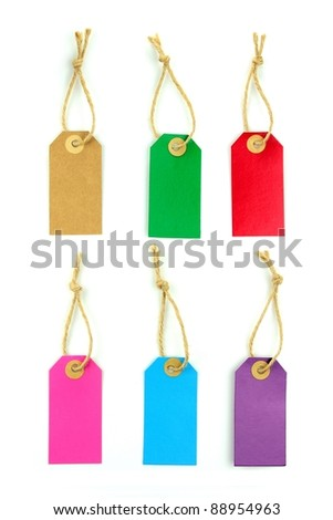 Color labels on white background - stock photo