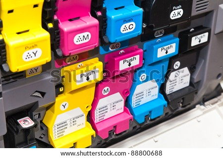 Color laser printer toner cartridges - stock photo