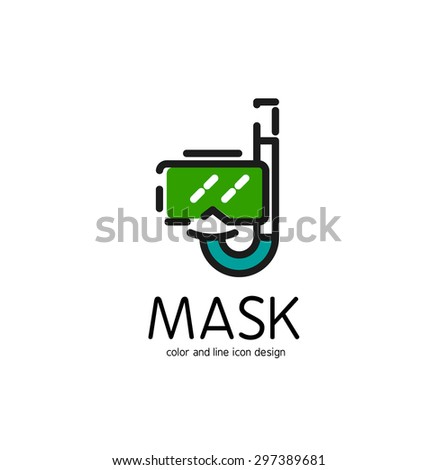 Color line icon for flat design isolated on white. Mask and snorkel - stock photo