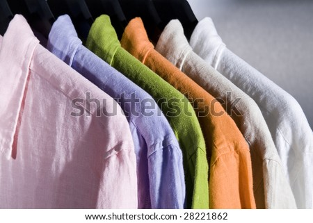 color linen shirts on hangers