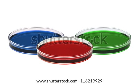 color liquid in petri dishes isolated on white background - stock photo