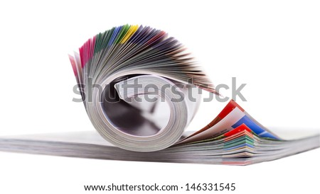 Color magazines isolated on the white background - stock photo