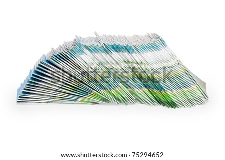 Color magazines on a white background - stock photo
