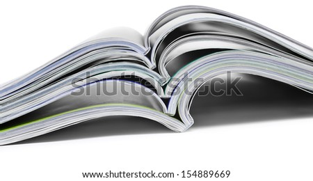 Color magazines on the white background
