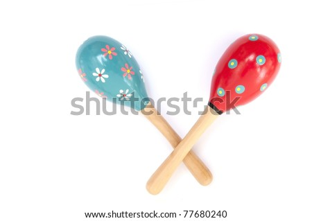 Color maracas percussion music instrument as white isolate background - stock photo