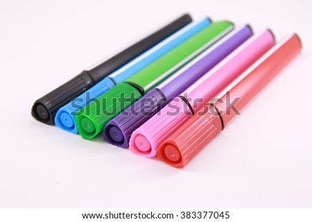 color marker pen in multicolor on white background